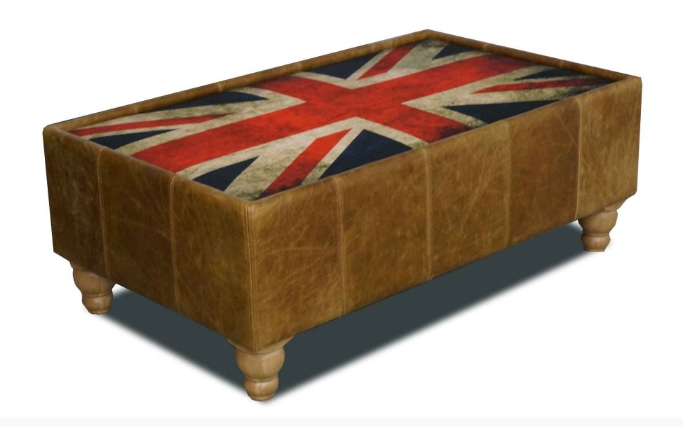 Harris Tweed and Leather Button and Union Jack Footstools