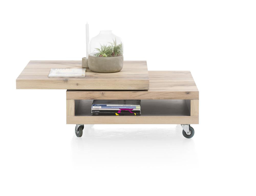 Habufa Myland Revolving Top Coffee table-Coffee Table-Against The Grain Furniture-80 x 80-Oak-Against The Grain Furniture