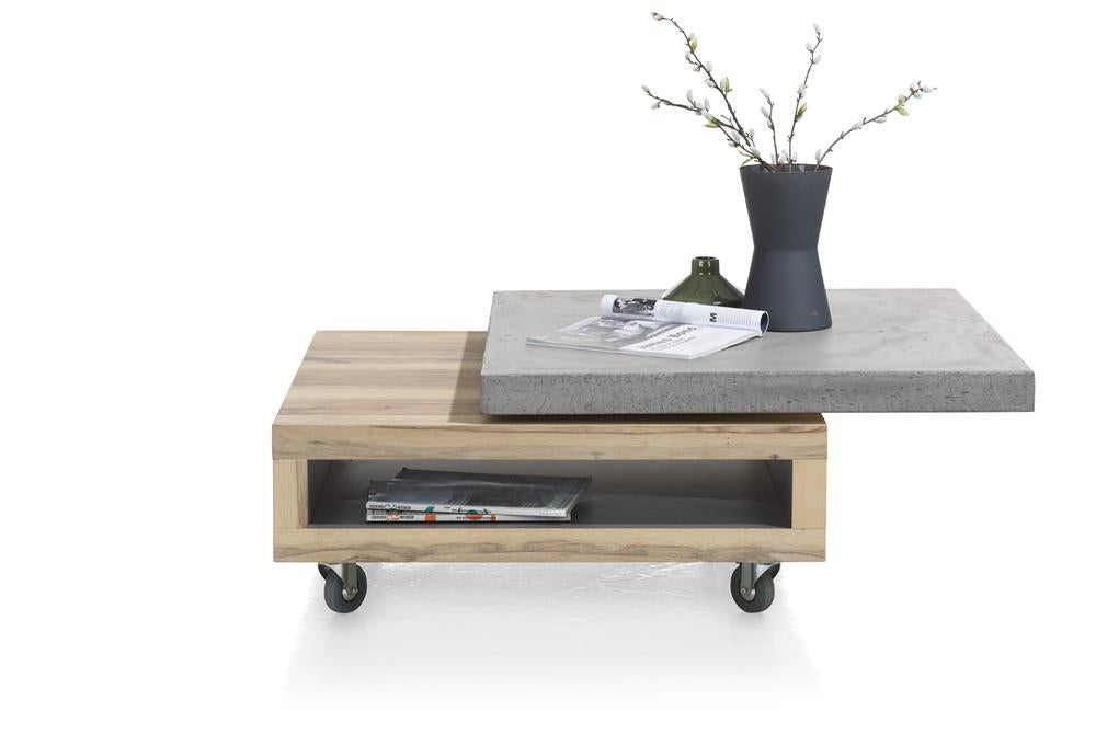 Habufa Myland Revolving Top Coffee table-Coffee Table-Against The Grain Furniture-80 x 80-Concrete-Against The Grain Furniture