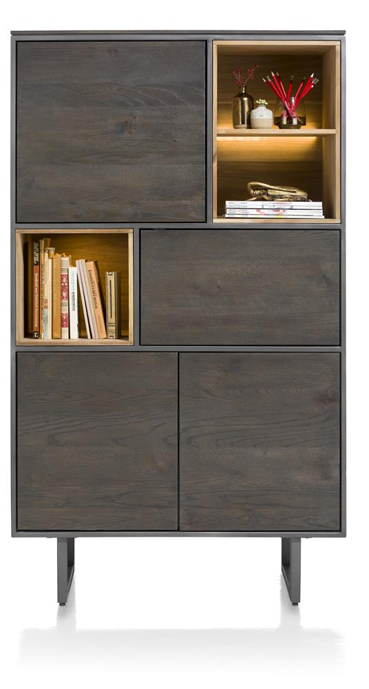 Habufa Moniz Tall Display and Storage Cabinet in Smoked Acacia Wood