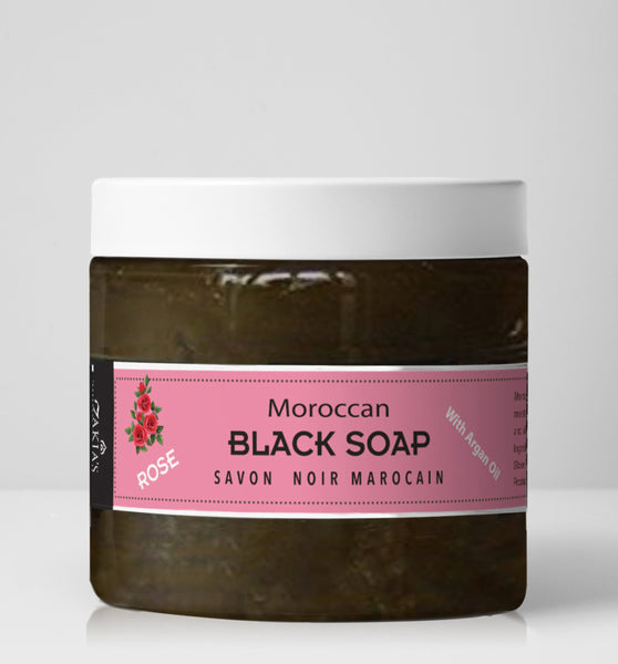 "Moroccan ""BELDI"" Black Soap   Rose - 16 oz"