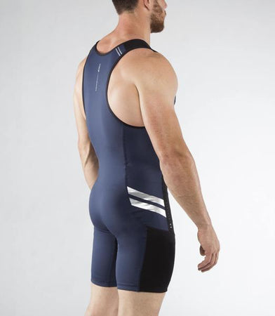 Au12 | BioCeramic™ ELEVATE II Weightlifting Singlet | Navy/Silver