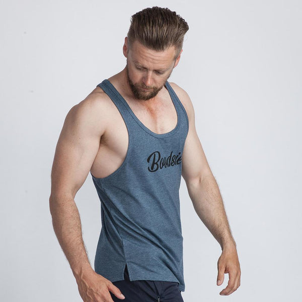 Classic Scoop Singlet in Blue Marle