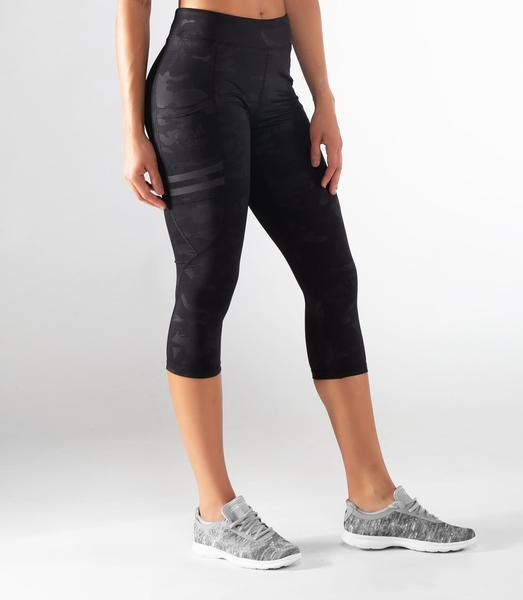 EAu53 | BioCeramic™ Power Crop Compression Leggings | Black Camo