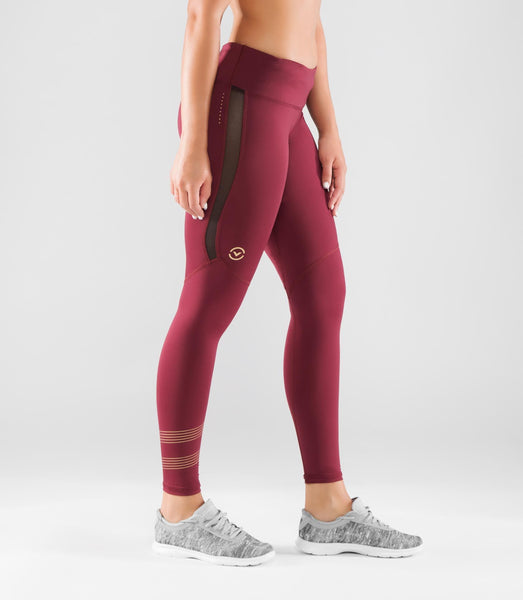 EAu33 | BioCeramic™ MESH Compression Leggings | Maroon/Gold