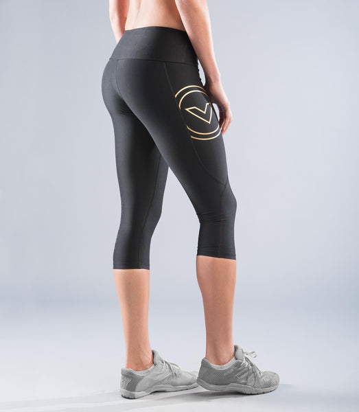 EAu8 | BioCeramic™ Crop Compression Leggings | Black