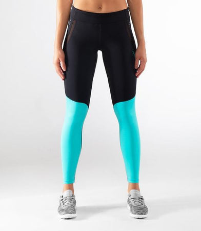 ECo42 | CoolJade™ Sonic Compression Leggings | Black/Teal Green