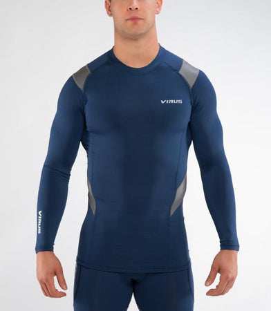 Sio15X | CoffeeChar™ thermal X-Form Compression Top | Navy/Silver