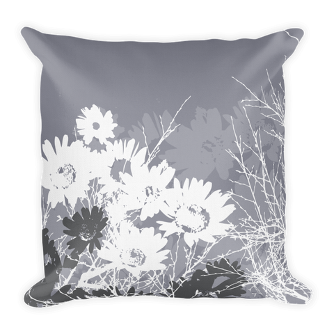 Courage - grey Pillow with flowers and branches