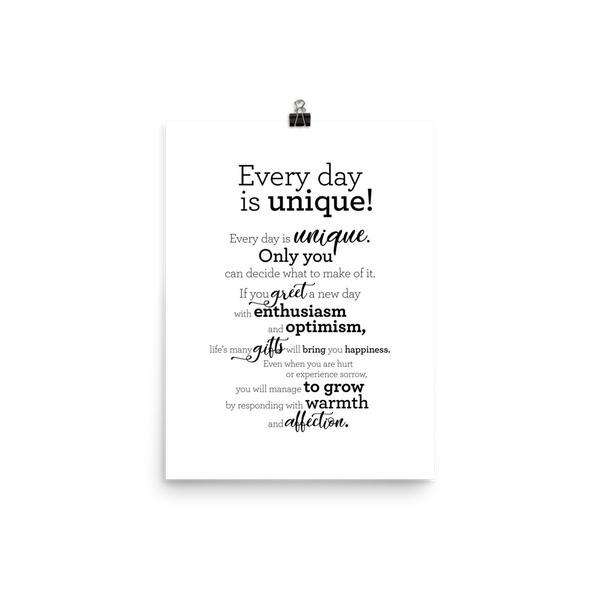 Every day is unique - Poster / Hver dagur er einstakur - Plakat