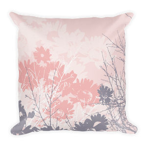 EMBRACE - pink Pillow with flowers and branches