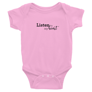 Listen to my heart - Infant Baby Rib Bodysuit