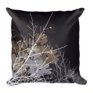 Strength - black Pillow with flowers and branches