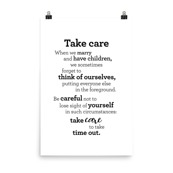 Take care - Poster / Mundu - Plakat