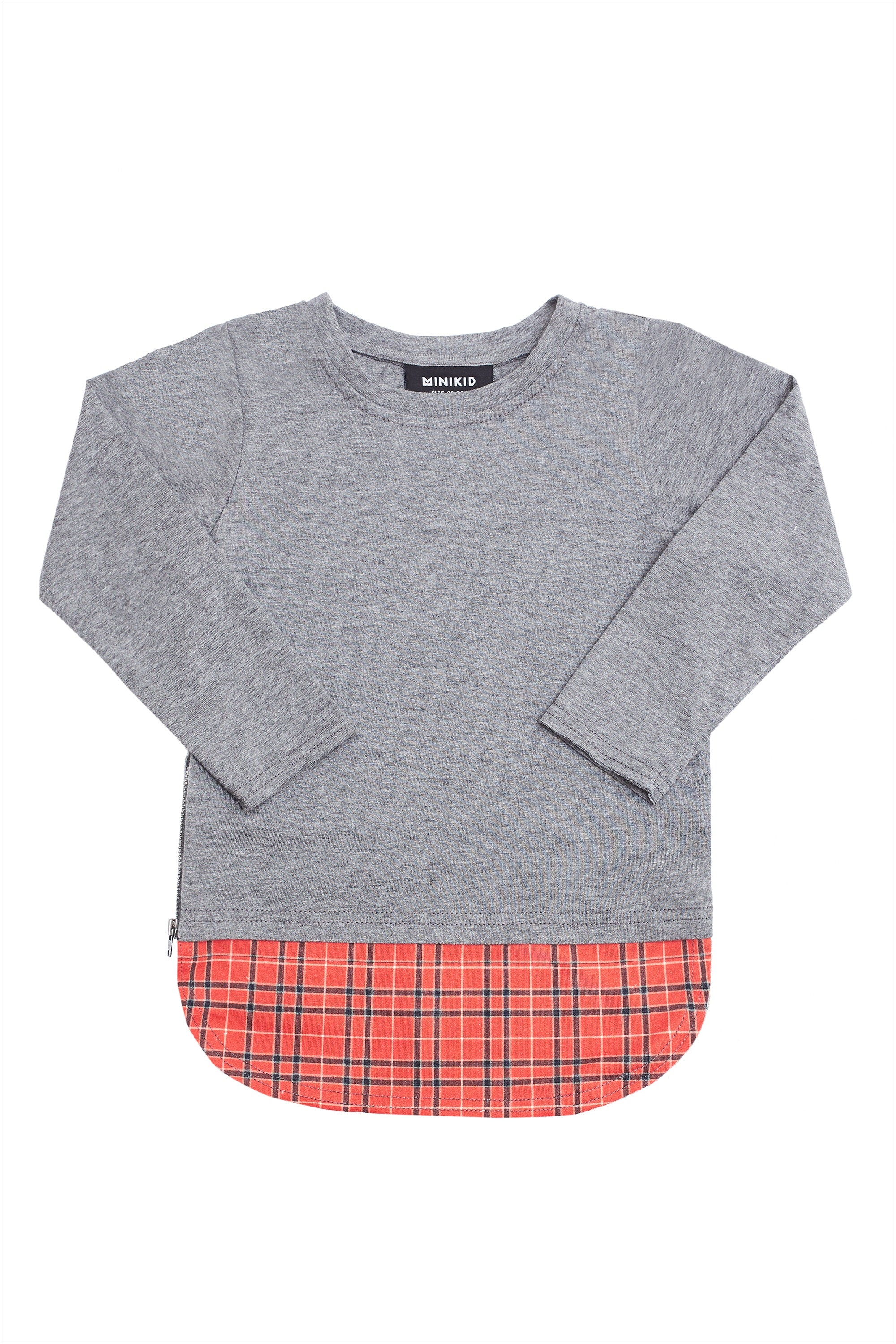 L/S GREY & RED CHECKERED TEE
