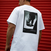 Back image of man in BF x Grapple Club T-Shirt