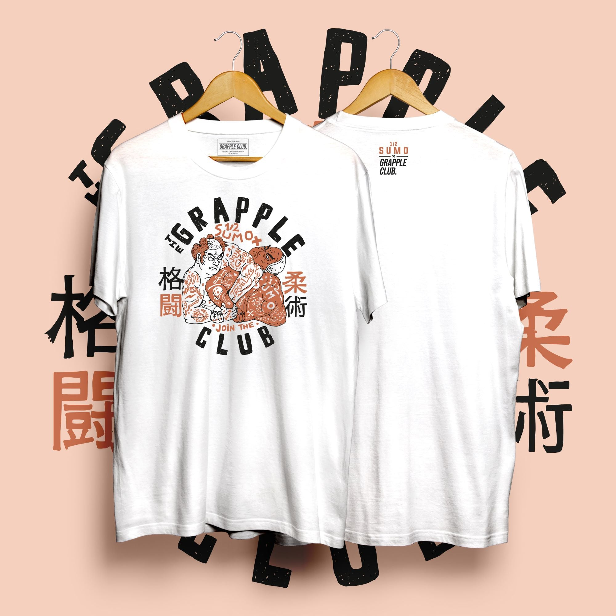 Half Sumo X Grapple Club - White T-Shirt on Hanger