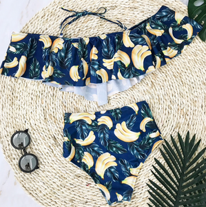 Tropical Banana Off-Shoulder Bikini SET