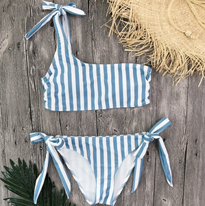 Stripe On Blue Bikini