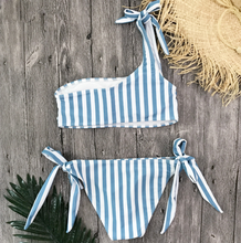 Load image into Gallery viewer, Stripe On Blue Bikini