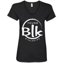 Load image into Gallery viewer, YB&T White Splash Ladies' V-Neck T-Shirt - Young Blk & Talented