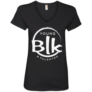 YB&T White Splash Ladies' V-Neck T-Shirt - Young Blk & Talented