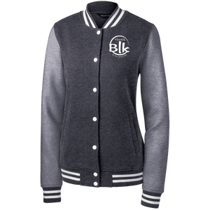 YB&T Splash Women's Fleece Embroidered Letterman Jacket - Young Blk & Talented