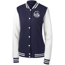 Load image into Gallery viewer, YB&T Splash Women's Fleece Embroidered Letterman Jacket - Young Blk & Talented
