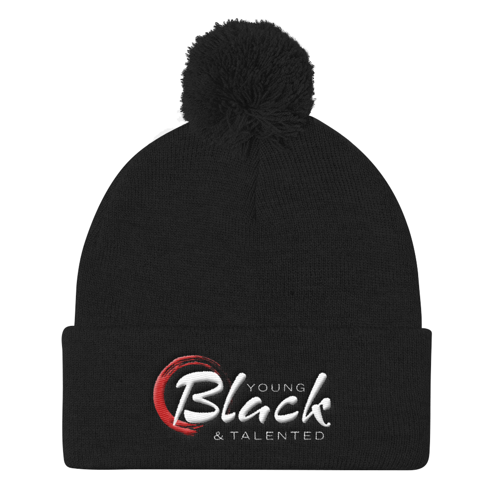 Young Blk & Talented Pom Pom Knit Cap - Young Blk & Talented
