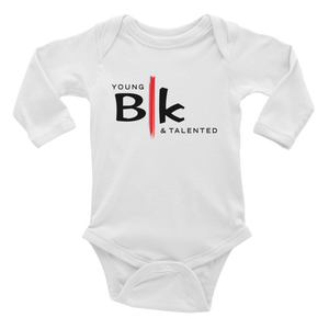YB&T BLK White Infant Long Sleeve Bodysuit - Young Blk & Talented