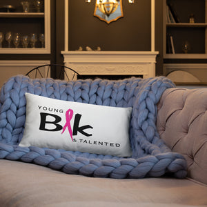 YB&T Breast Cancer Awareness Pillow - Young Blk & Talented