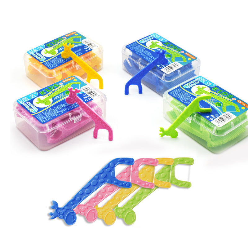 Kids Cute EZ Dental Flosser, Colored Animal EZ Teethpicks  , 40pcs/package