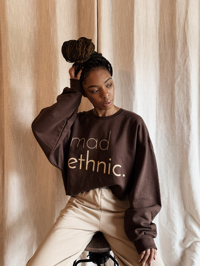 Mad Ethnic Cropped Sweatshirt - brown