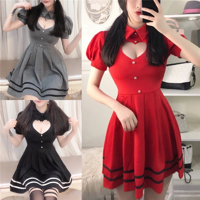 """SWEET HEART HOLLOW OUT"" SHORT SLEEVE DRESS Y021612"
