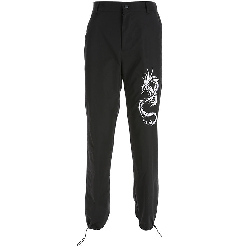 "[@julia.aaa.black] ""BLACK EMBROIDERED DRAGON"" CASUAL PANTS K081002REVIEW"
