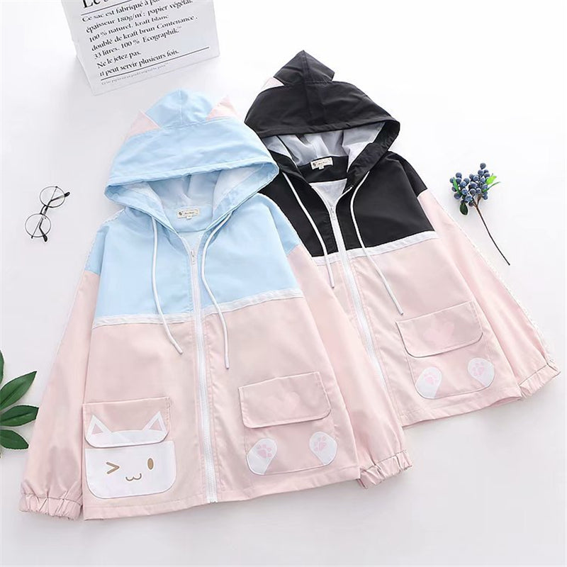 """CUTE POCKET CAT COLORBLOCK"" HOODED JACKET Y031603"