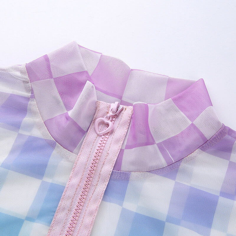 """GRADIENT PASTEL CHECKERS PLAID"" MESH TOP K052506"