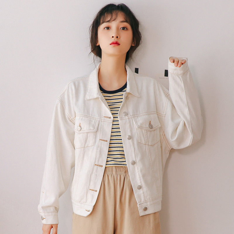 """BEIGE RETRO SIMPLE LOOSE DENIM"" JACKET TOP K090806"