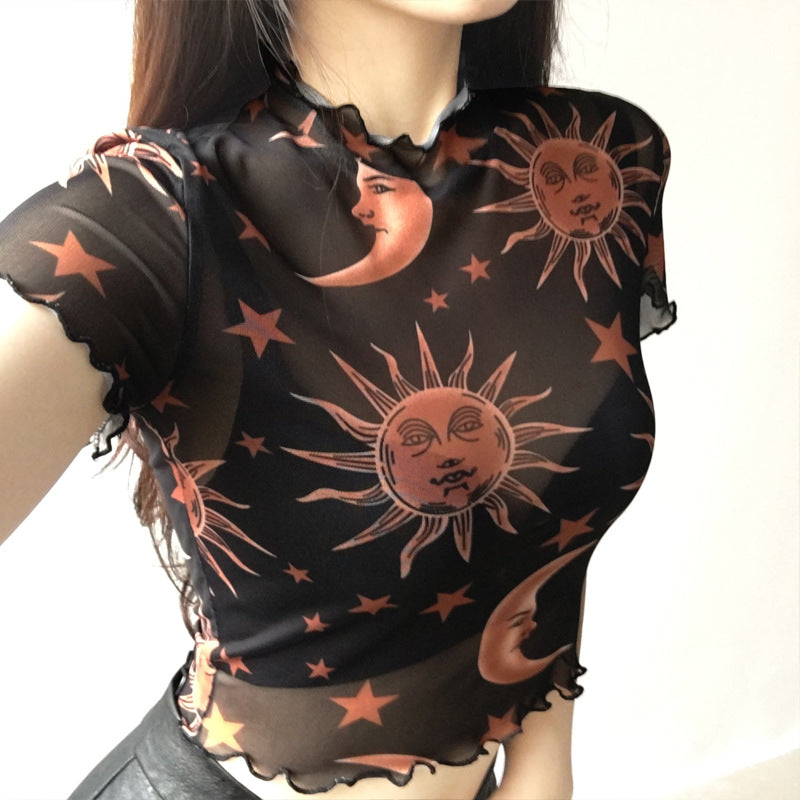 """SUN MOON STAR MESH"" SHORT SLEEVE TOP K052101"