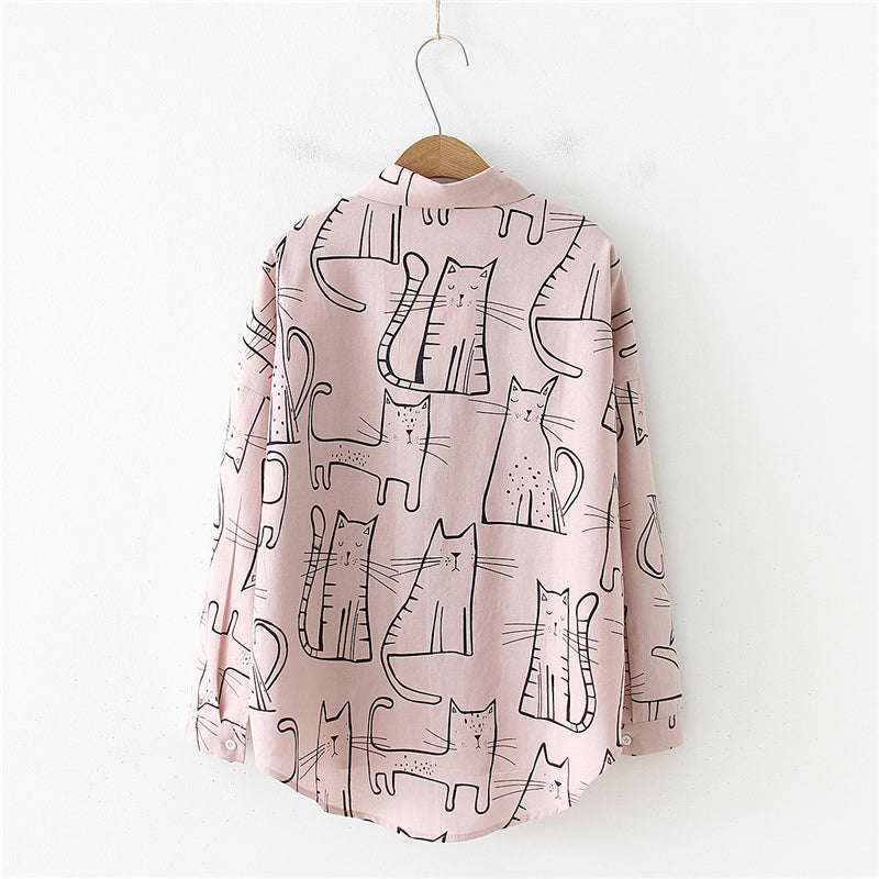"""KAWAII CAT"" LONG SLEEVED SUN PROTECTION SHIRT K100310"