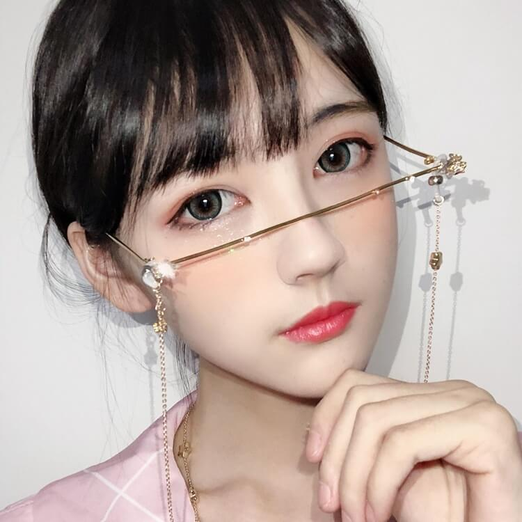 """RETRO STAR CHAIN LOWER HALF FRAME"" GLASSES K052515"