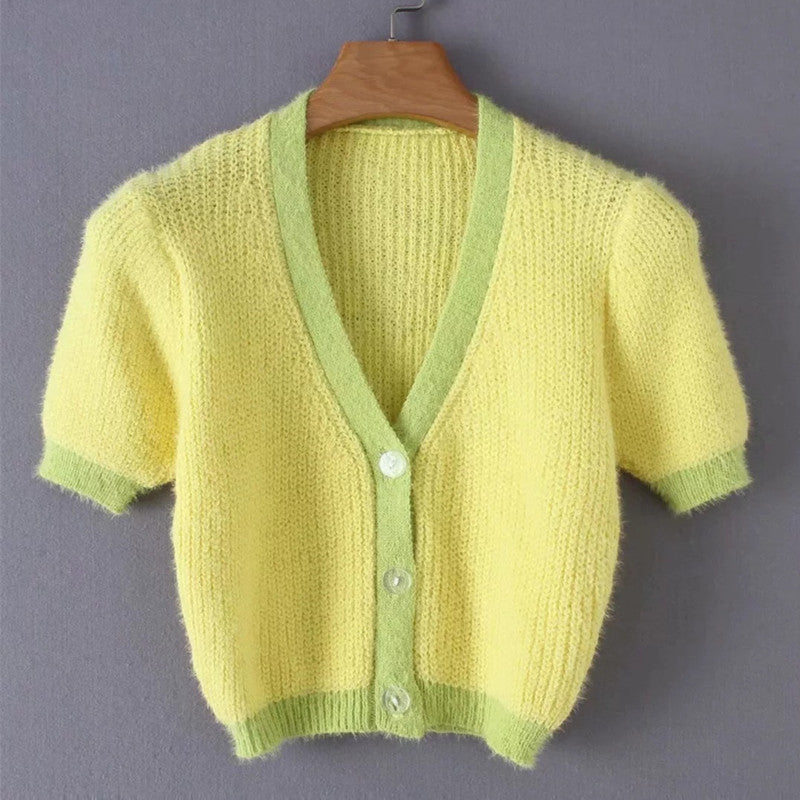 """YELLOW KNIT CUTE SHORT SLEEVE"" CARDIGAN TOP K050405"