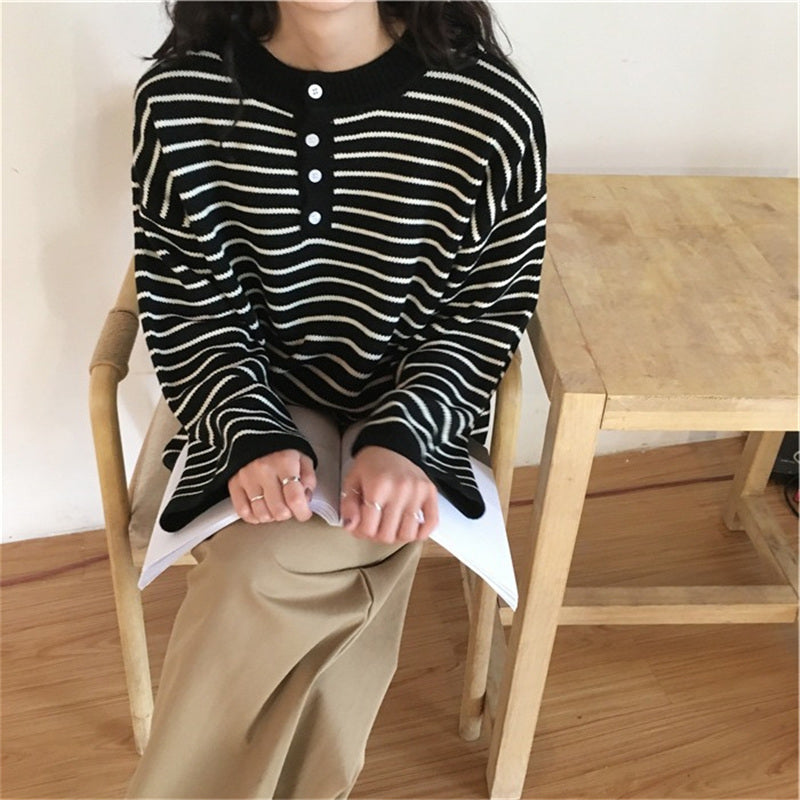 """BLACK STRIPED KNIT"" PULLOVER K091706"
