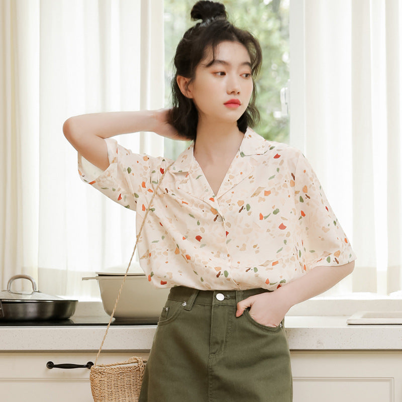 """RETRO SUIT COLLAR CHIFFON PRINT"" SHORT-SLEEVED SHIRT K071704"