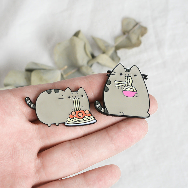 """CAT EATING NOODLES"" PIN Y021404"