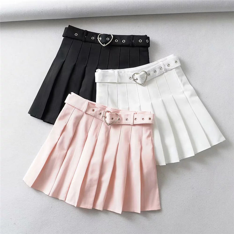 """LOVE"" PLEATED SKIRT WITH BELT K052602"