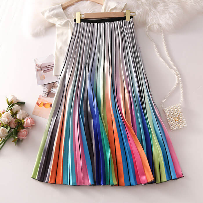 """RAINBOW"" PLEATED SKIRT K060606"