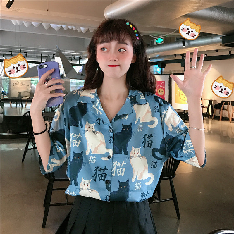 """KAWAII CAT PRINTING"" SHORT SLEEVE BLOUSE K080308"