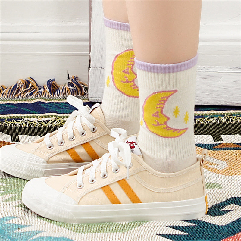 """CANDY-COLORED MOON"" COTTON SOCKS K111815"