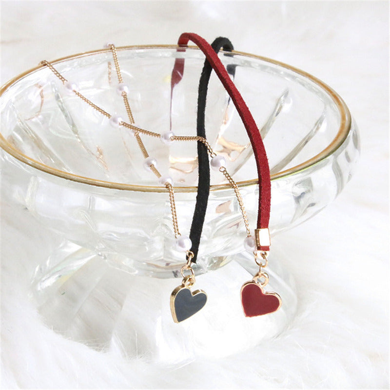 """Heartbeat"" Red Love Pearl Necklace Y040608"